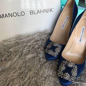 Manolo Blahnik Hangisi Blue Satin Jeweled Pumps